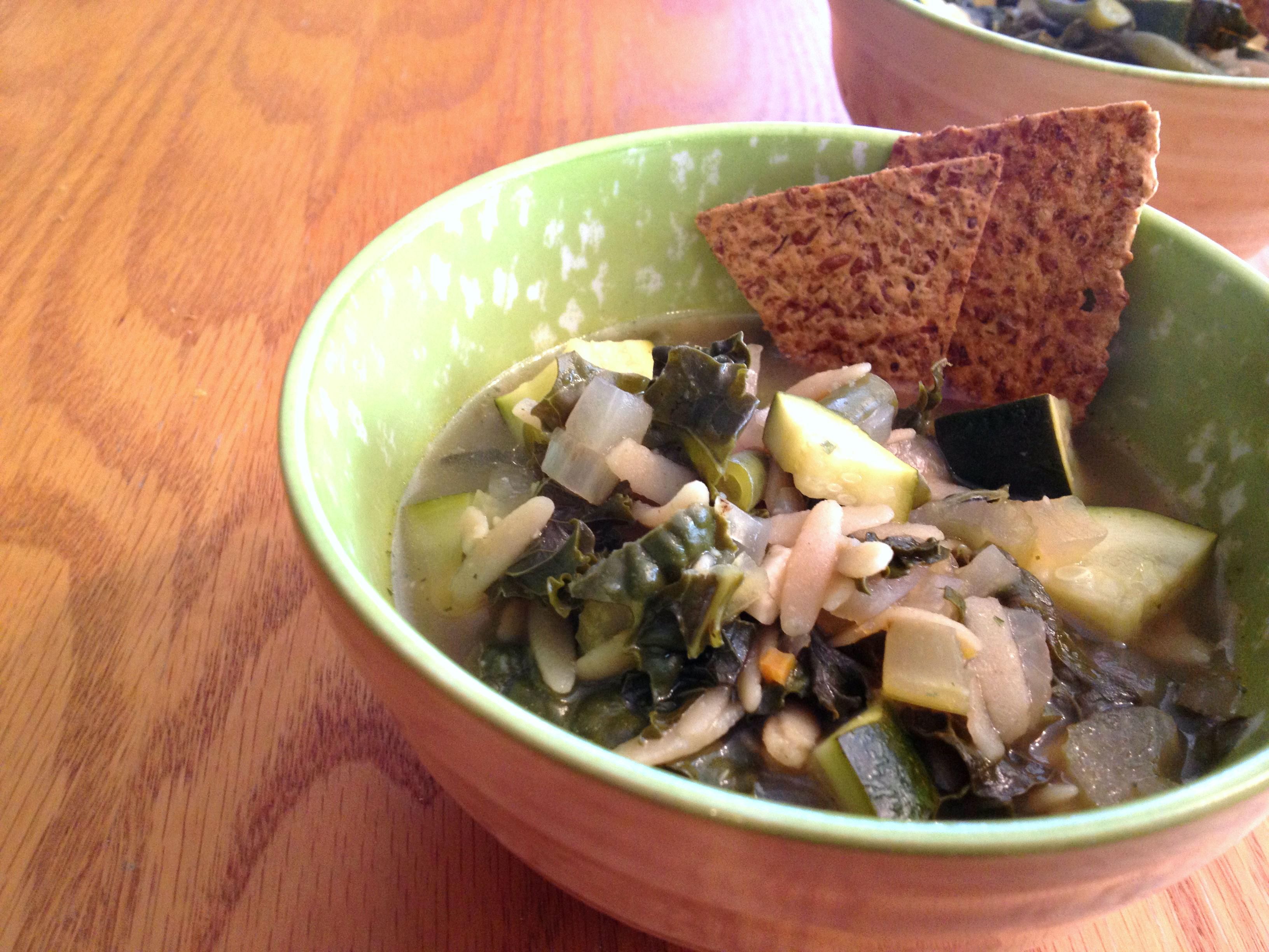 Green Bean Kale Orzo Soup 1