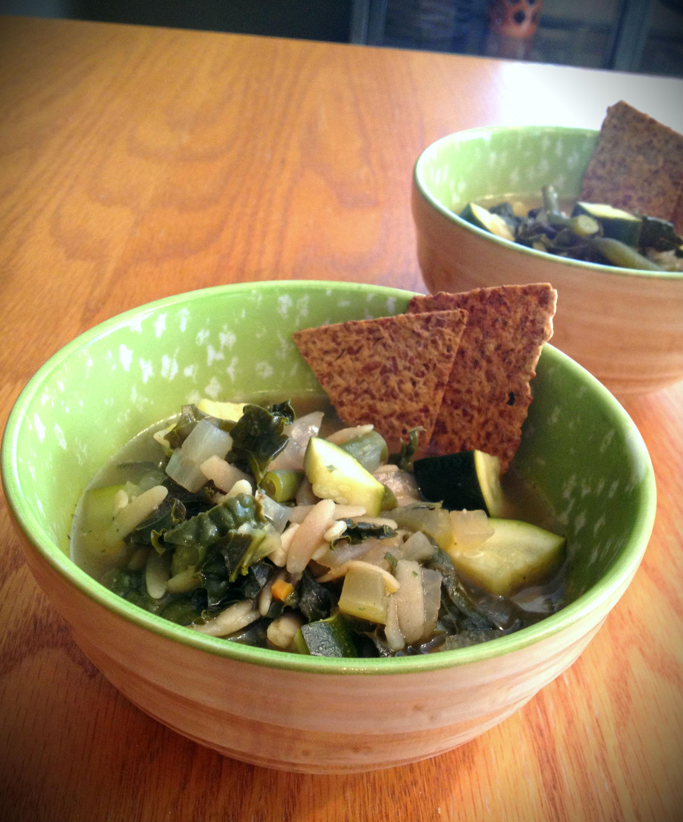 Green Bean Kale Orzo Soup 2