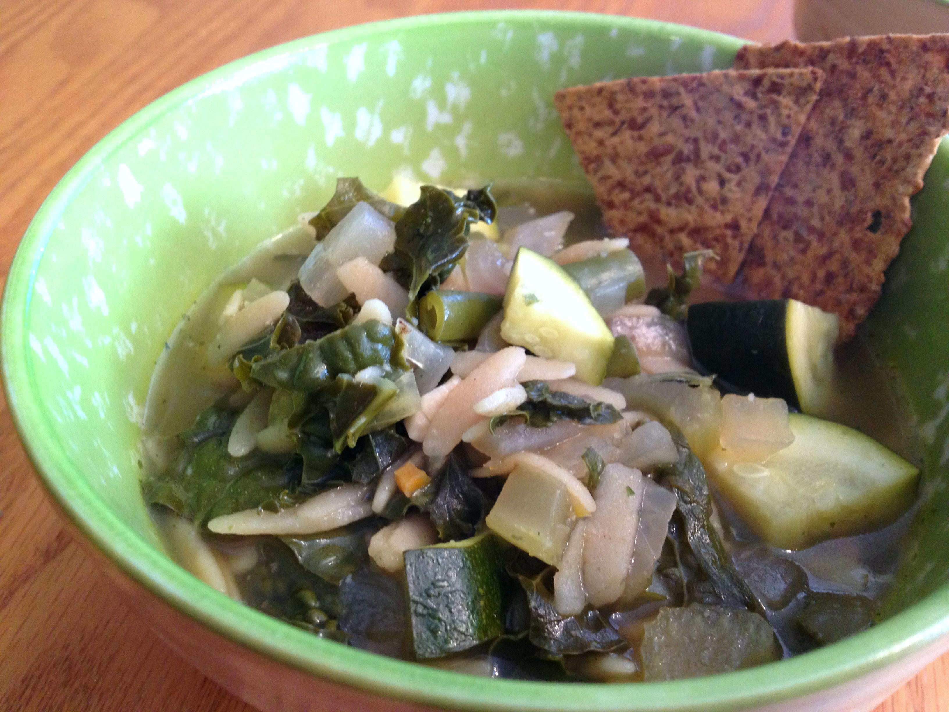 Green Bean Kale Orzo Soup