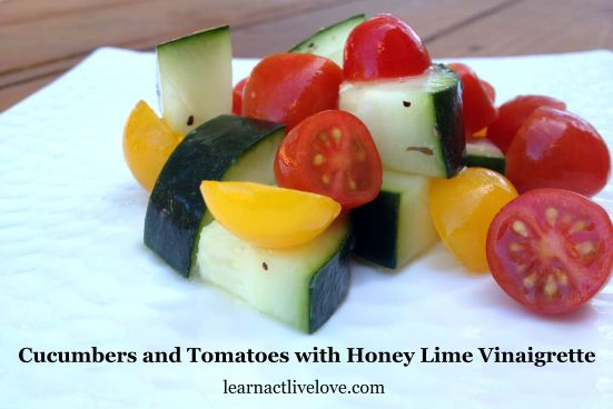 Cucumbers and Tomatoes with Honey Lime Vinaigrette